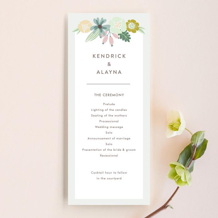 """Floral Ampersand"" - Wedding Programs in Mustard by Johanna McShan."