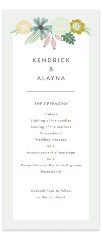 This is a colorful Wedding Programs by Johanna McShan called Floral Ampersand with Standard printing on Signature in Classic Flat Card format. Share the details of your wedding ceremony with a beautiful wedding program printed on luxe paper. All wedding ...