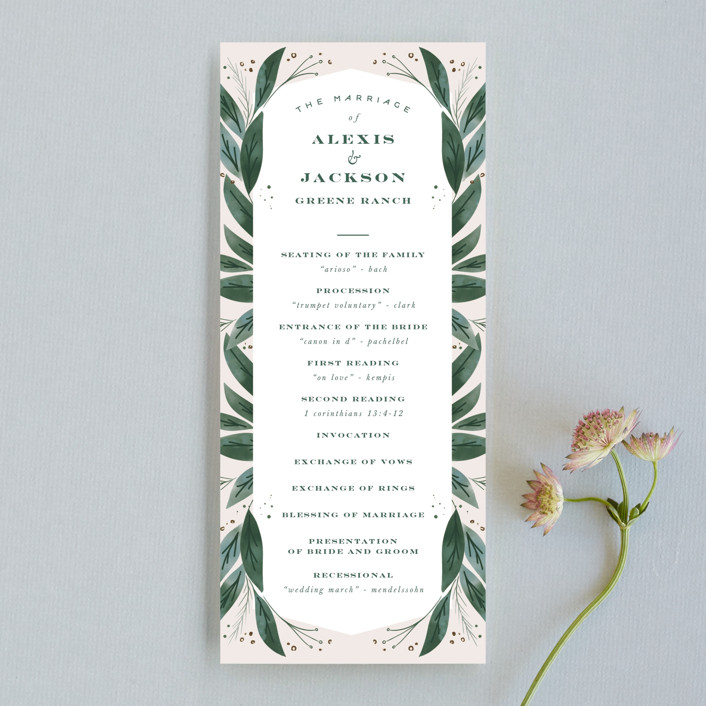 """Eternity"" - Unique Wedding Programs in Sage by Leah Bisch."
