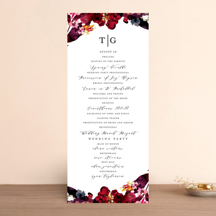 """Tidal Blooms"" - Unique Wedding Programs in Holly by Grace Kreinbrink."
