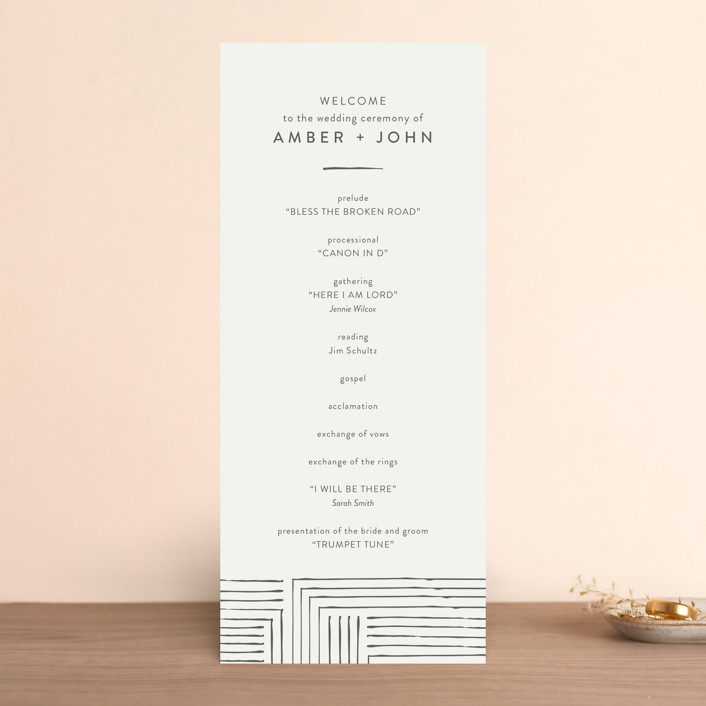 """""""Pattern Play"""" - Wedding Programs in Pebble by Seven Swans."""