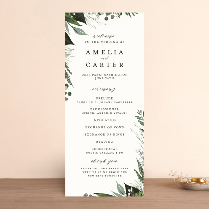 """Natures Greens"" - Wedding Programs in Ivory by Susan Moyal."