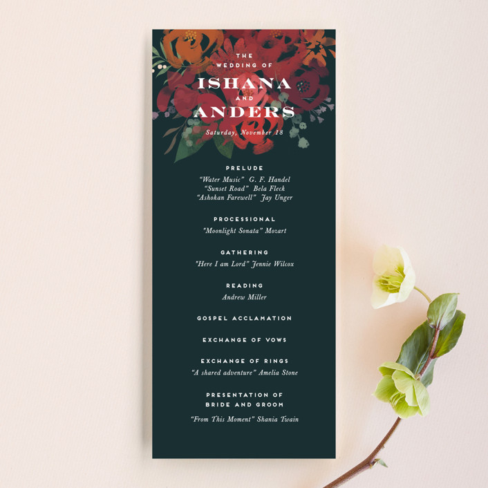 """Midnight Garden"" - Wedding Programs in Deep Sea by Jennifer Wick."