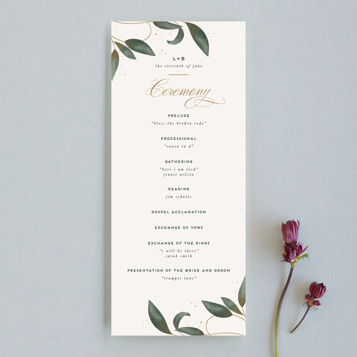 """Love Grows"" - Wedding Programs in Leaf by Leah Bisch."