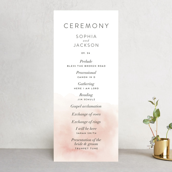 """""""Ethereal Bouquet"""" - Wedding Programs in Blush by Petra Kern."""