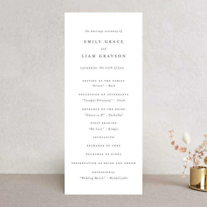 """""""A Thousand Years"""" - Unique Wedding Programs in Classic White by Design Lotus."""