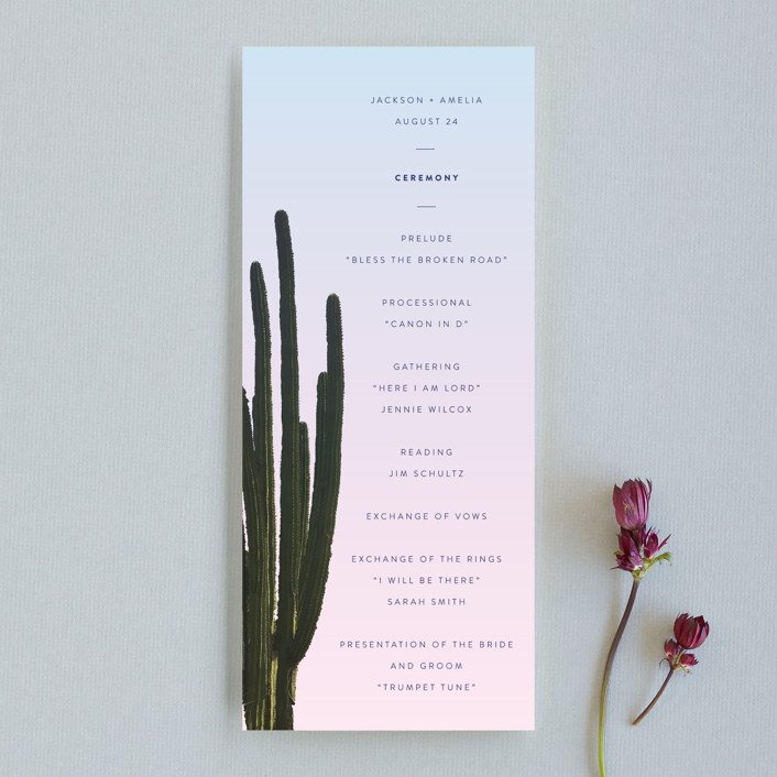 """""""Desert Rocks"""" - Unique Wedding Programs in Sunset by Owl and Toad."""