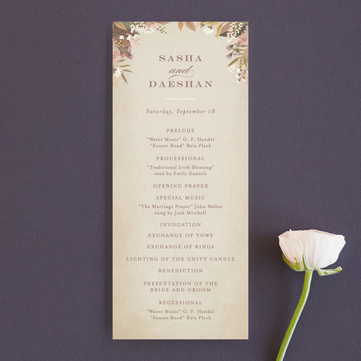 """""""turning leaves"""" - Unique Wedding Programs in Champagne by Jennifer Wick."""
