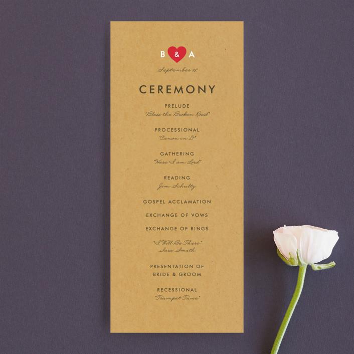 """Textbook Love Story"" - Unique Wedding Programs in Kraft by root beer float."