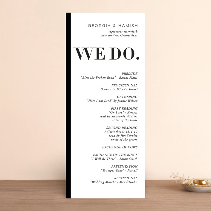 """Basically"" - Wedding Programs in Noir by 2birdstone."