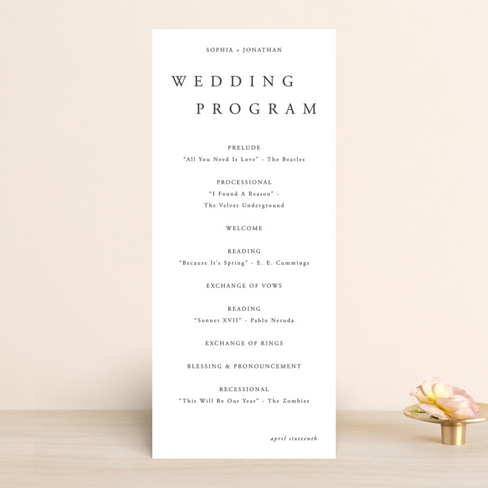 """""""The Minimalist"""" - Wedding Programs in Air by lulu and isabelle."""