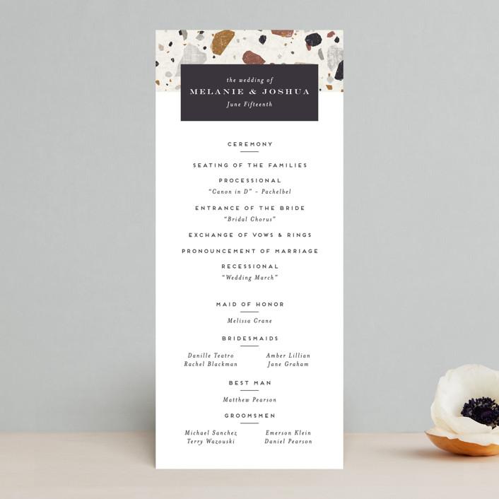 """Terrazzo Frame"" - Modern Wedding Programs in Mustard by Amy Payne."