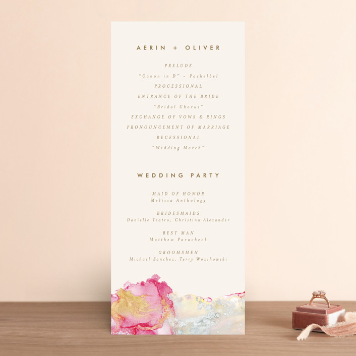 """desert chic"" - Modern Wedding Programs in Blush by AK Graphics."
