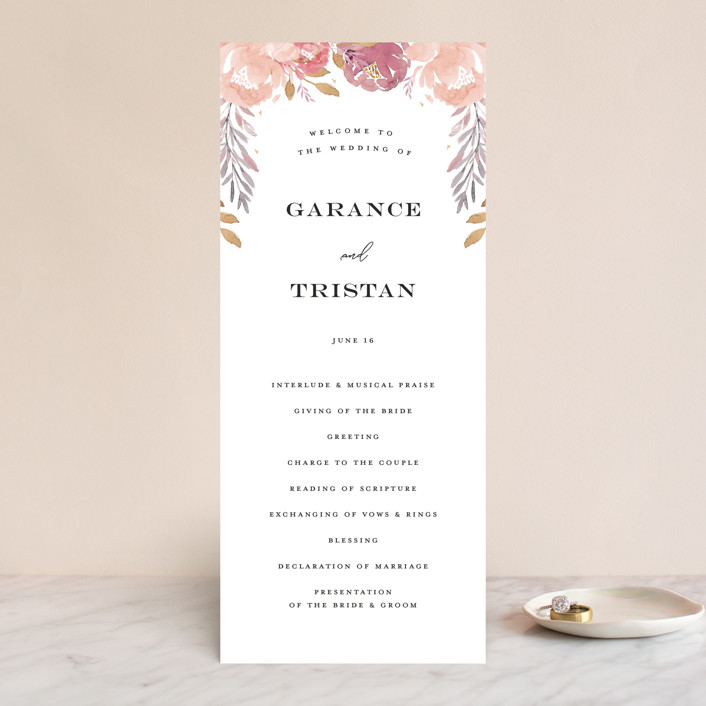 """""""Grand Bloom"""" - Wedding Programs in Mauve by Bonjour Paper."""