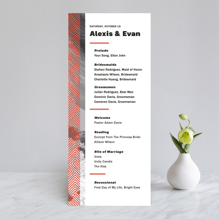 """Alexis"" - Modern Wedding Programs in Coral by Calee A.H. Cecconi."