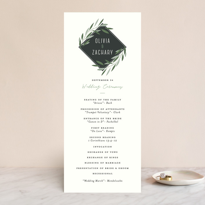 """Oliviers"" - Wedding Programs in Spring by Gwen Bedat."