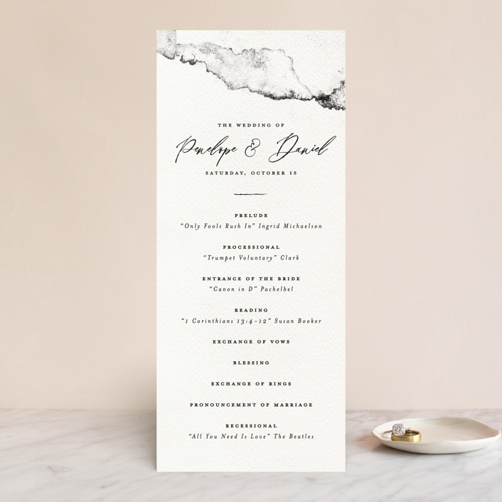 """Inky"" - Modern Wedding Programs in Ink by Pink House Press."