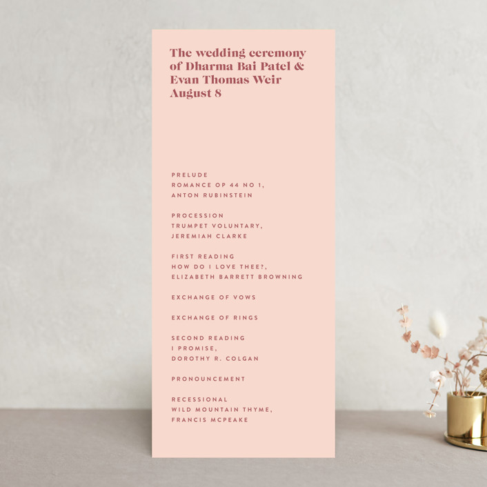 """headline"" - Wedding Programs in Rust by Melissa Egan of Pistols."