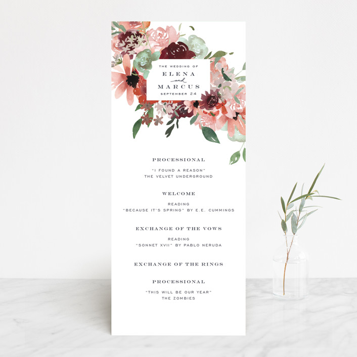 """Cascading Florals"" - Wedding Programs in Rouge by Leah Bisch."