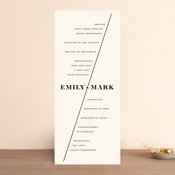 """Angled"" - Wedding Programs in Onyx by GeekInk Design."