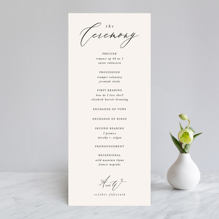 """Timeless"" - Wedding Programs in Taupe by Leah Bisch."