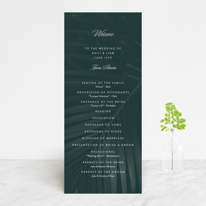 """Palm Layers"" - Wedding Programs in Palm Frond by Jill Means."