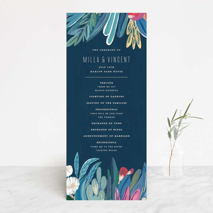 """Floral Burst"" - Wedding Programs in Ocean by Morgan Ramberg."