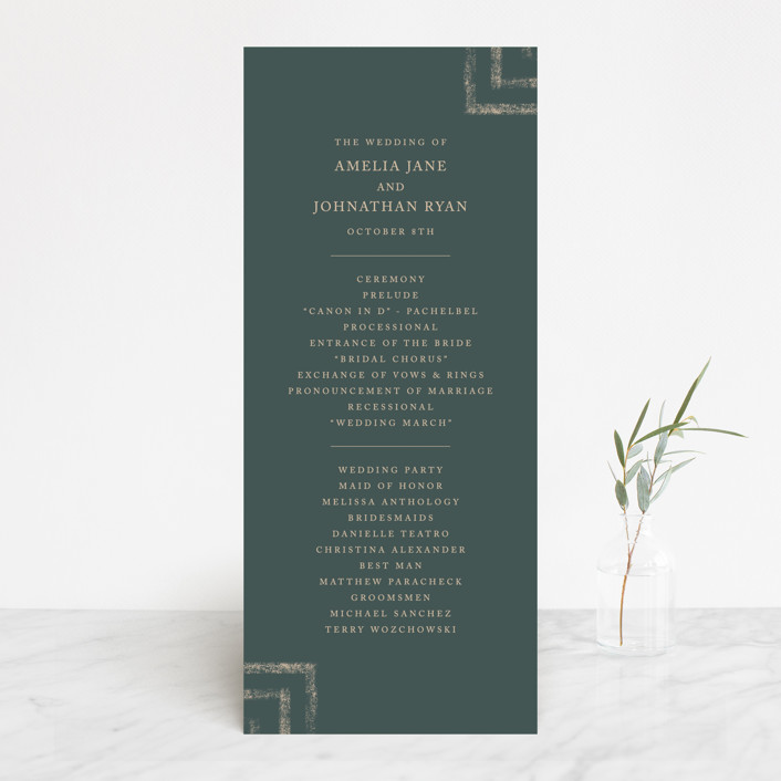 """Simply Modern"" - Modern Wedding Programs in Jade by Something Noir."