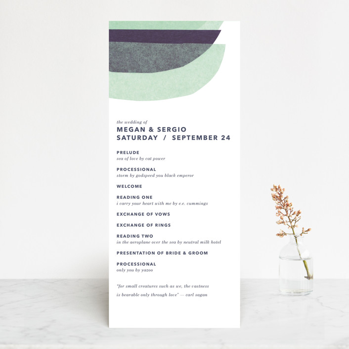 """tissue union"" - Modern Wedding Programs in Cucumber by Carrie Moradi."