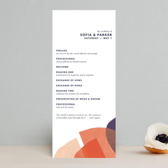 """tissue texture"" - Modern Wedding Programs in Papaya by Carrie Moradi."