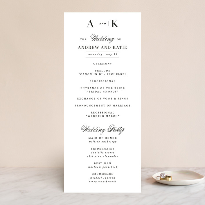 """Typography"" - Wedding Programs in Pearl by lena barakat."