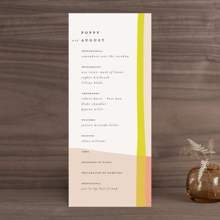 """Color Block"" - Modern Wedding Programs in Blush by Morgan Kendall."
