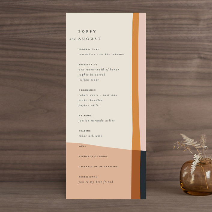 """Color Block"" - Modern Wedding Programs in Peach by Morgan Kendall."
