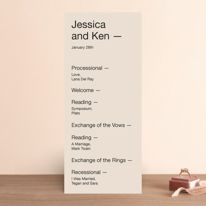 """Proposal"" - Wedding Programs in Buff by Jack Knoebber."