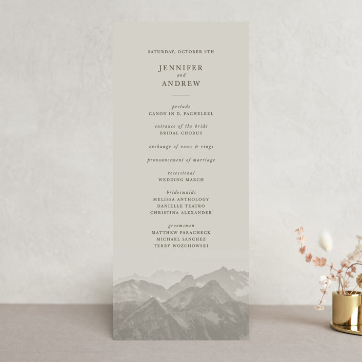 """Modern Mountain"" - Rustic Wedding Programs in Fog by Stephanie Biller."