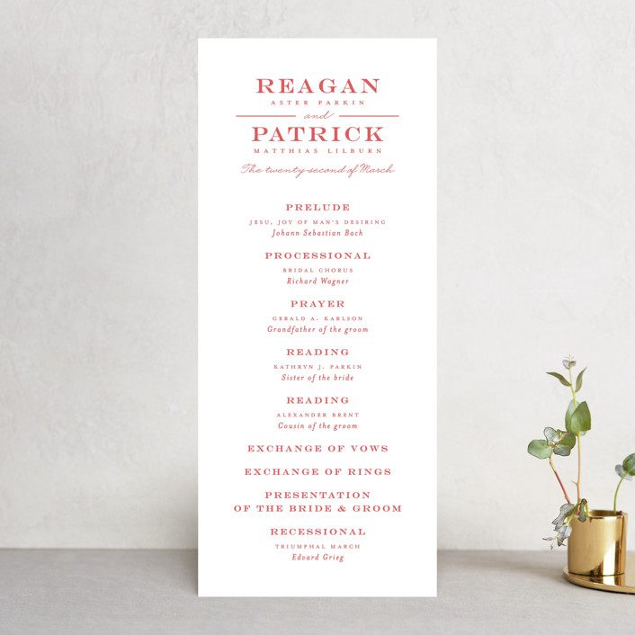 """""""Library Square"""" - Unique Wedding Programs in Charcoal by Little Words Design."""