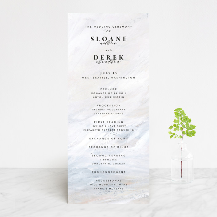 """wishful"" - Modern Wedding Programs in Tide by Kate Ahn."