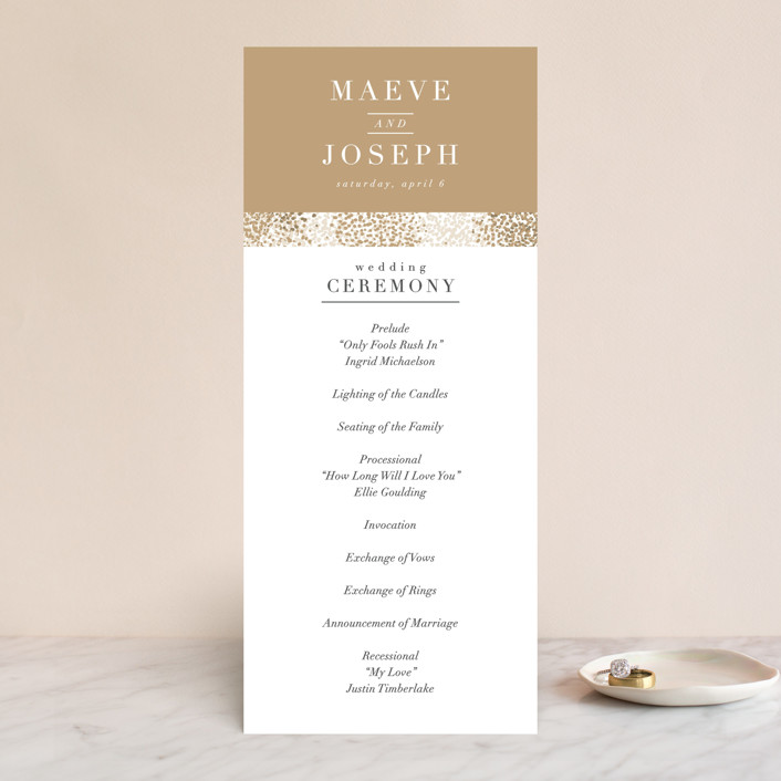 """Organic Dots"" - Bohemian Wedding Programs in Champagne by lena barakat."