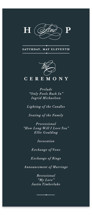 This is a blue unique wedding program by lena barakat called Traditional with standard printing on signature in standard.