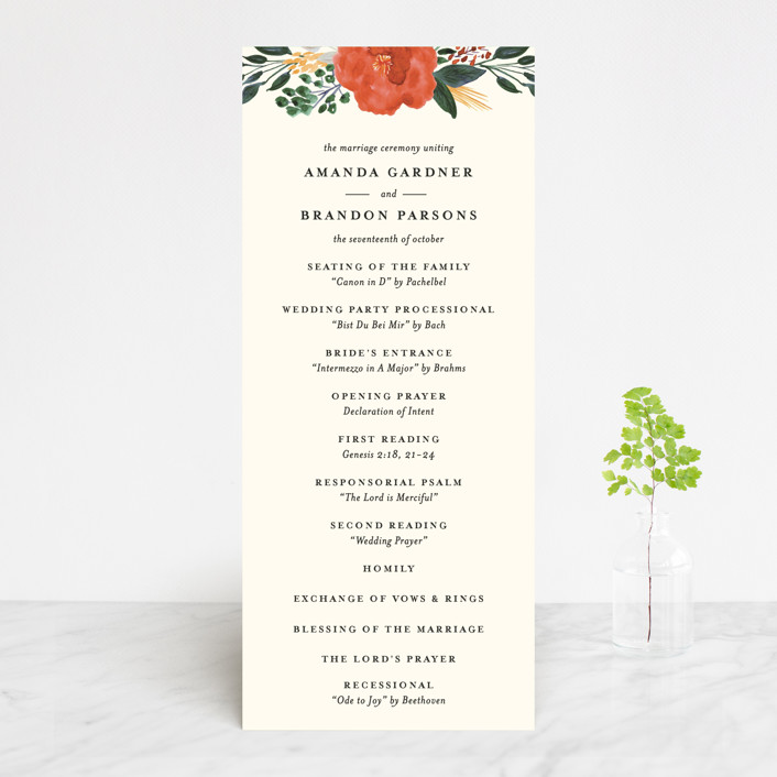 """Flourishing"" - Wedding Programs in Bloom by Beth Schneider."