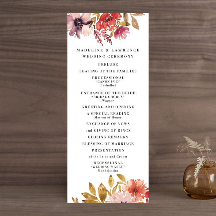 """Autumn Vows"" - Wedding Programs in Burnt Orange by Chris Griffith."