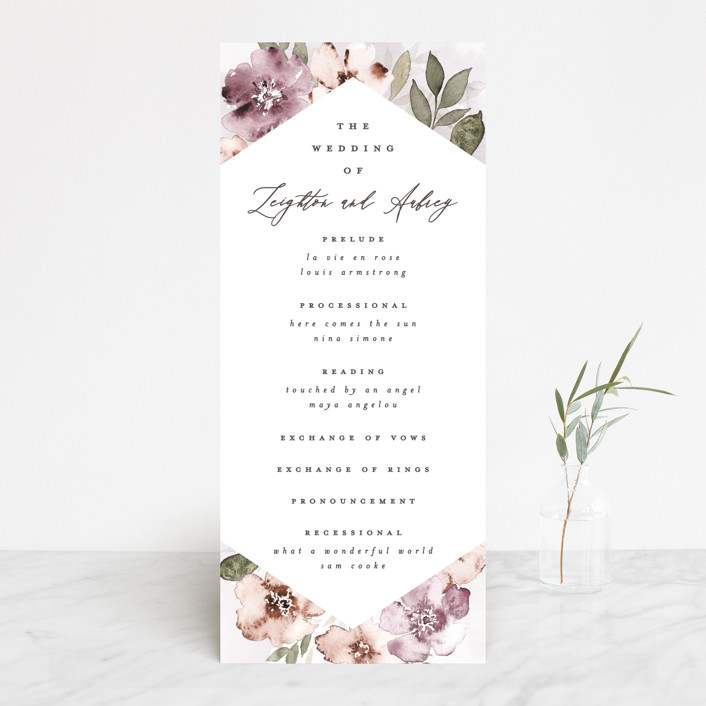 """""""Fancifully"""" - Wedding Programs in Dust Mauve by Everett Paper Goods."""