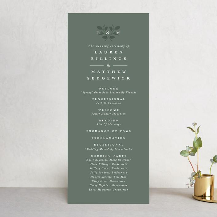 """""""Falling Branch"""" - Wedding Programs in Eucalyptus by Amy Kross."""