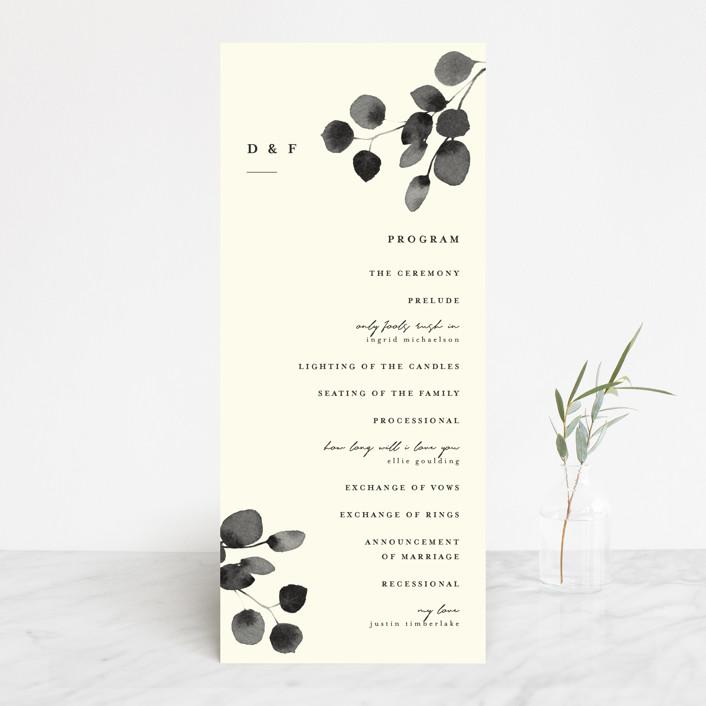 """Silver Dollar Eucalyptus"" - Wedding Programs in Ivory by Four Wet Feet Studio."