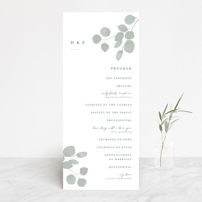 """Silver Dollar Eucalyptus"" - Wedding Programs in Silver Dollar by Shannon Chen."