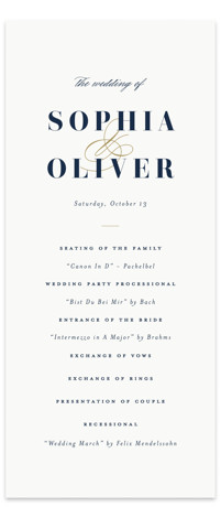 This is a bold and typographic, classic and formal, simple and minimalist, blue Wedding Programs by Brandy Folse called Bold Love with Standard printing on Signature in Classic Flat Card format. An elegant wedding invitation boldly featuring the couples names. ...