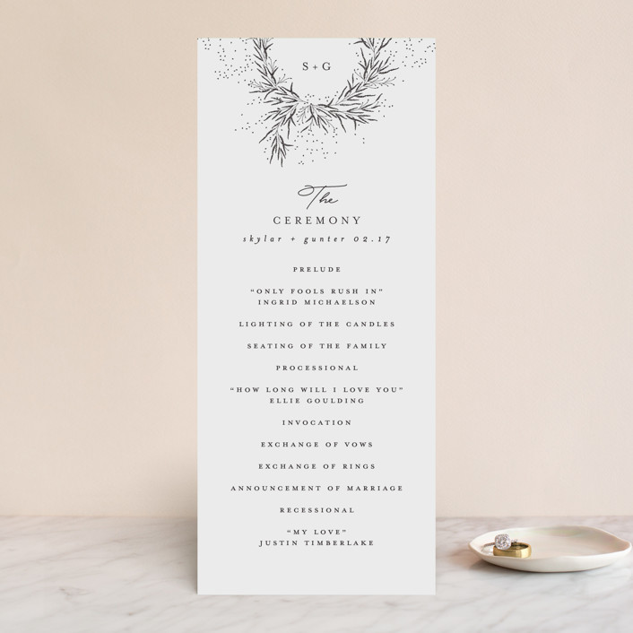 """A Sketched Wreath"" - Wedding Programs in Concrete by Plain White Paper Co."
