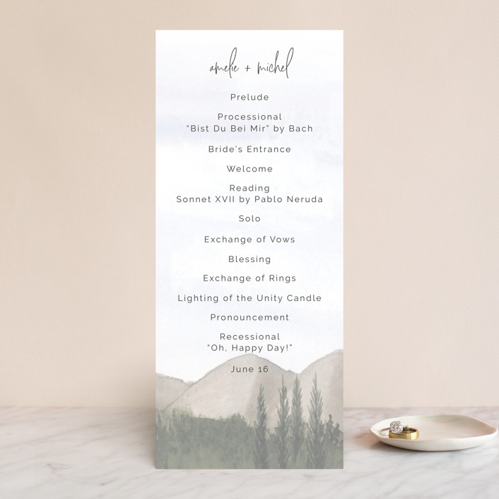 """muted mountains"" - Rustic Wedding Programs in Splendid Day by Deborah Chou."