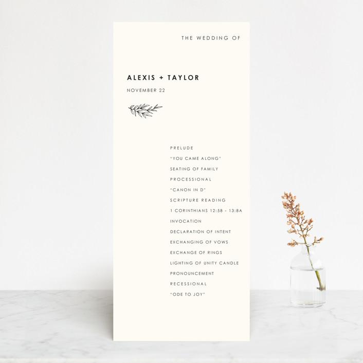 """Modern Bliss"" - Wedding Programs in Cream by Elly."