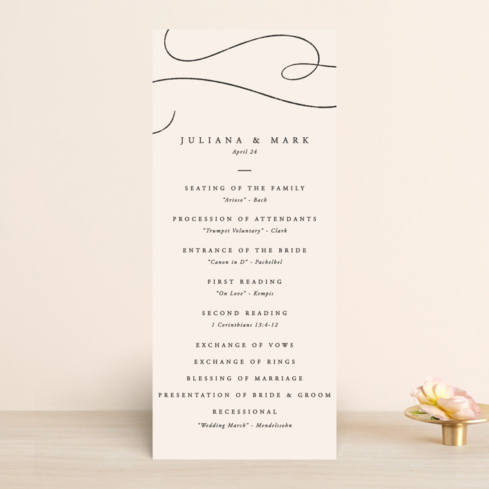 """Fountain Pen"" - Wedding Programs in Creme by Erin L. Wilson."